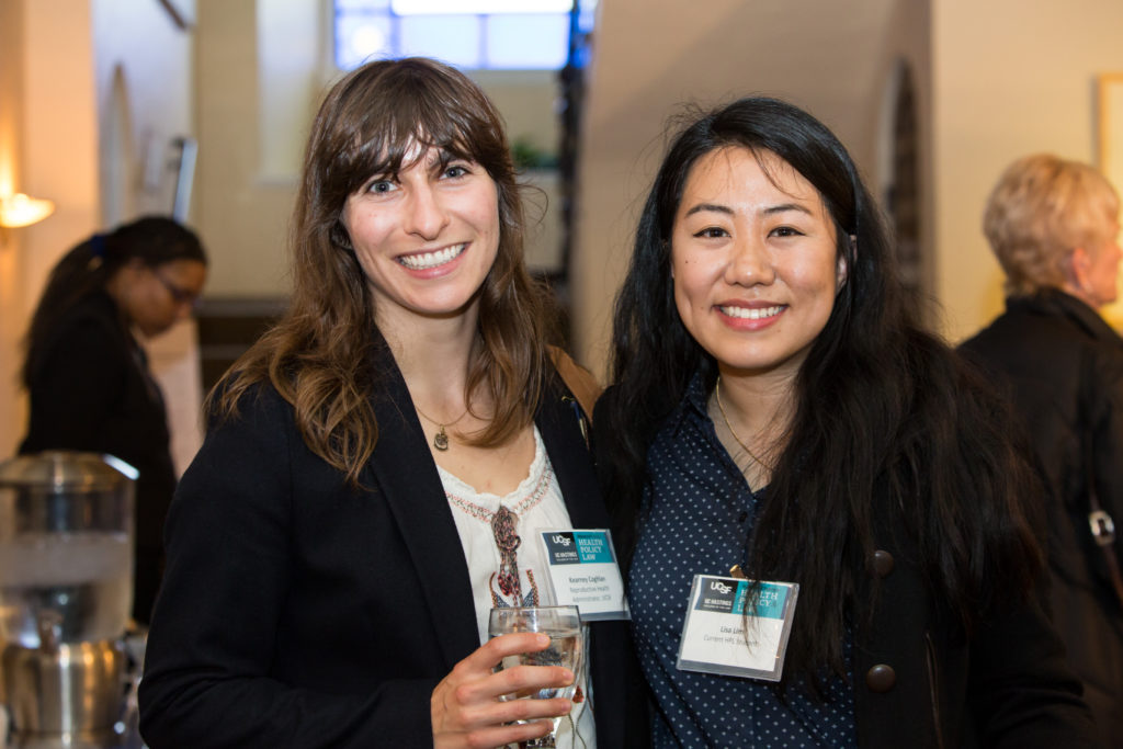 Kearney Coghlan, reproductive health administrator at UCSF (left), with current student Lisa Lim